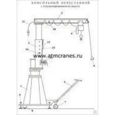Кран консольный передвижной с телескопической колонной г/п 0,25 т