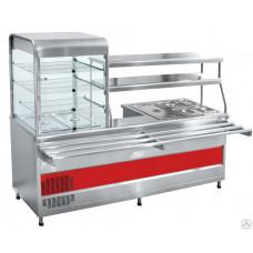 Прилавок-витрина холодильный мармитный Abat ПВХМ-70КМУ нерж. витрина слева